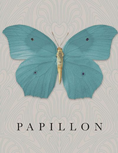 Papillon Tourquise Wine Label